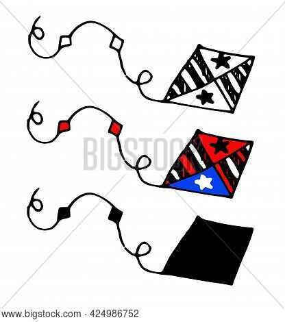 Vector Kite In Red And White Stripes And Stars. Hand-drawn Doodle-style Kite In The Shape Of A Diamo
