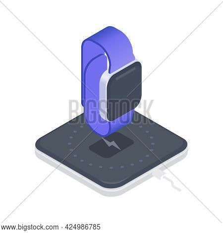 Smartwatch With Blue Band On Wireless Charger 3d Isometric Vector Illustration