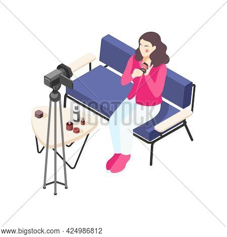 Makeup Vlogger Using Camera To Record Video About Cosmetic Products Isometric Icon Vector Illustrati