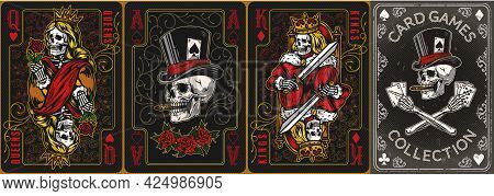 Playing Cards Posters Vintage Colorful Set With Elegant Frames Rose Flowers Skeleton Queen And King
