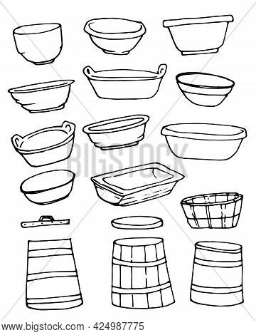 The Basin Vector Set. A Set Of Insulated Plastic Basins And Bowls And Wooden Barrels, Courts And Tub