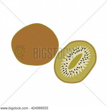 Kiwi Whole And Cut, Fresh Fruit, Healthy Food. Hand-drawn Vector, Flat. New Zealand Symbol. Natural