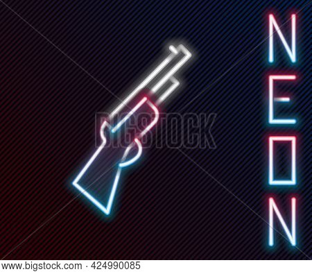 Glowing Neon Line Hunting Gun Icon Isolated On Black Background. Hunting Shotgun. Colorful Outline C