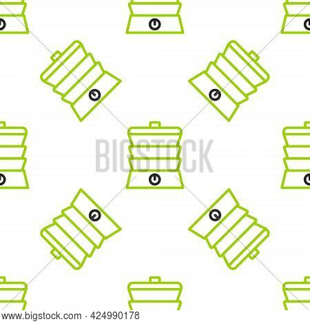 Line Slow Cooker Icon Isolated Seamless Pattern On White Background. Electric Pan. Vector