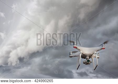 Uav Drone Copter Flying With Digital Camera. Drone With High Resolution Digital Camera. Flying Camer