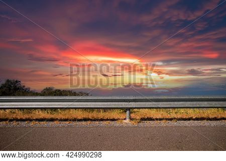 Ocean Side Highway And Gard Rail, Behind Is Beautiful Mountain View And Blue Sky. Road Side View Mou
