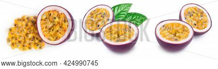Passion Fruit Isolated On White Background. Maracuya With Full Depth Of Field