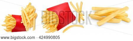 French Fries Or Fried Potatoes Isolated On White Background. Set Or Collection