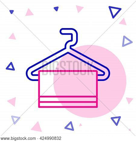 Line Towel On Hanger Icon Isolated On White Background. Bathroom Towel Icon. Colorful Outline Concep