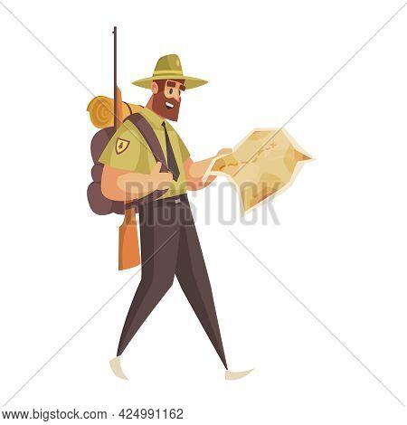 Forest Ranger With Gun Map And Backpack Cartoon Icon Vector Illustration