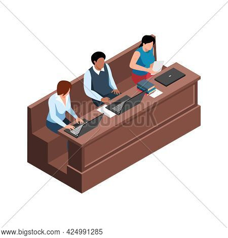 Isometric Icon With Three Students At Lecture Hall On White Background 3d Vector Illustration