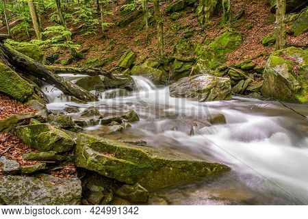 Forest Stream With Stones In Long Exposure. Clean Water. Ecology.