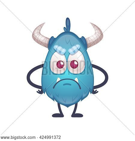 Sad Offended Beast Of Blue Color With Big Eyes And Horns Cartoon Icon Vector Illustration