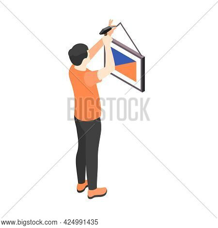 Renovation Isometric Icon With Man Hanging Picture On Wall 3d Vector Illustration