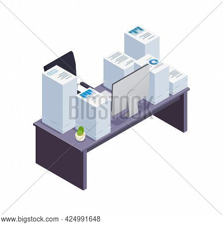 Office Desk With Huge Piles Of Papers Isometric Icon Vector Illustration