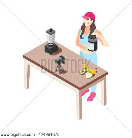 Female Food Vlogger In Sportswear Cooking Making Video About Healthy Diet Isometric Vector Illustrat