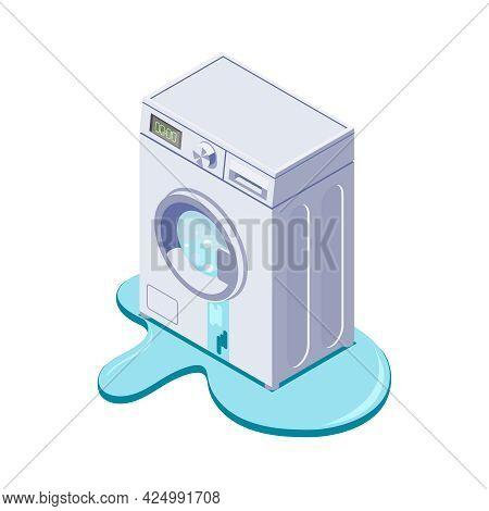Broken Leaking Washing Machine Isometric Icon Vector Illustration