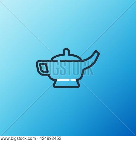 Line Magic Lamp Or Aladdin Lamp Icon Isolated On Blue Background. Spiritual Lamp For Wish. Colorful