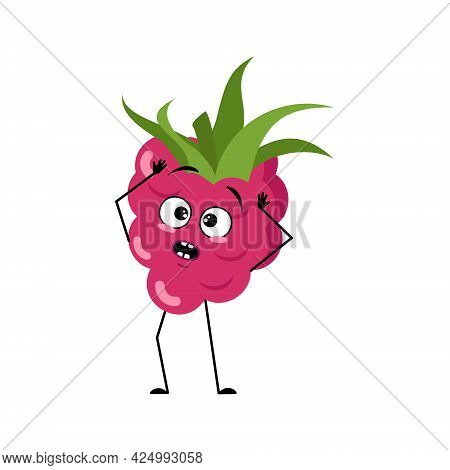 Cute Raspberry Character With Emotions In A Panic Grabs His Head, Face, Arms And Legs. The Funny Or