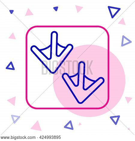 Line Goose Paw Footprint Icon Isolated On White Background. Colorful Outline Concept. Vector
