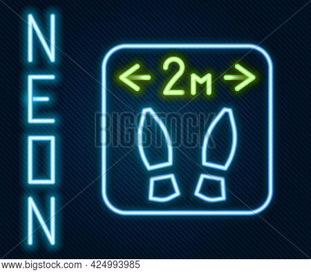 Glowing Neon Line Safe Distance Icon Isolated On Black Background. Viruses And People Keeping Distan