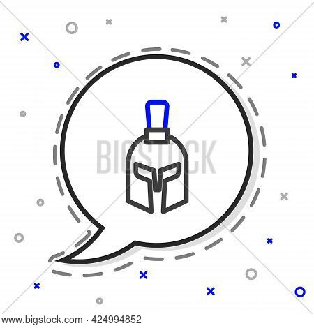 Line Greek Helmet Icon Isolated On White Background. Antiques Helmet For Head Protection Soldiers Wi