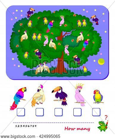 Math Education For Children. Count Quantity Of Parrots And Write Numbers. Worksheet For School Textb