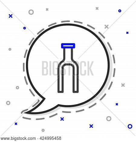 Line Bicycle Suspension Fork Icon Isolated On White Background. Sport Transportation Spare Part Stee