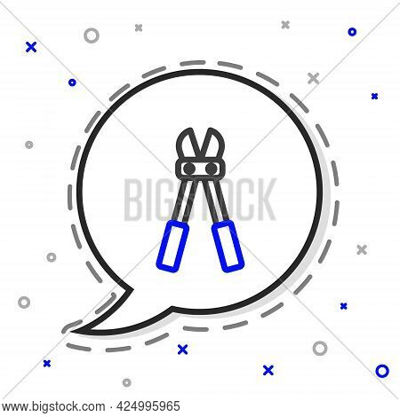 Line Bolt Cutter Icon Isolated On White Background. Scissors For Reinforcement Bars Tool. Colorful O