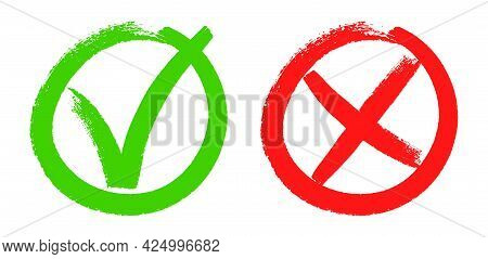 Doodle Checkmarks. Grunge Brush Stroke Tick And Cross Signs. Green V Mark, Red X Sign. Yes Or No Che
