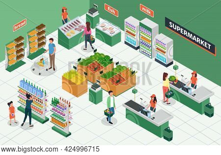 Isometric Grocery Store. Supermarket Interior With Furniture, Customers, Cashier. People Buying Groc