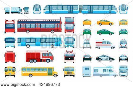 Car Side Front Back View. Urban Vehicles Passenger Car, Taxi, Police Car, Train. Flat City Public Tr