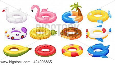 Swimming Ring. Inflatable Pool Accessories, Floating Rubber Toys Watermelon, Pineapple, Donut, Flami