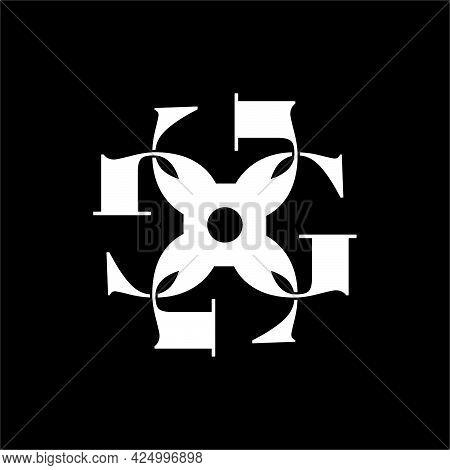 Initial Letter G, G4 Or 4g Logo Template With Vintage Sacred Font Illustration In Flat Design Monogr