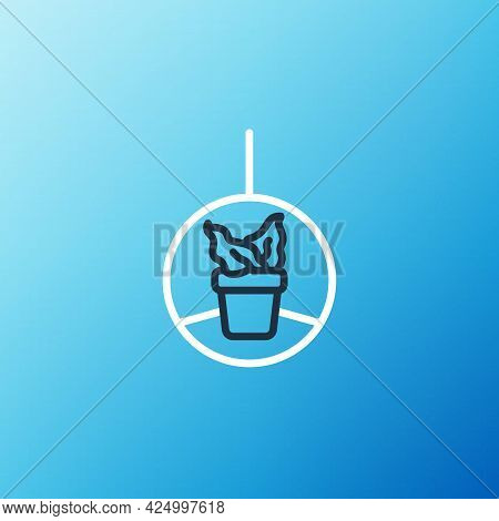 Line Plant In Hanging Pot Icon Isolated On Blue Background. Decorative Macrame Handmade Hangers For