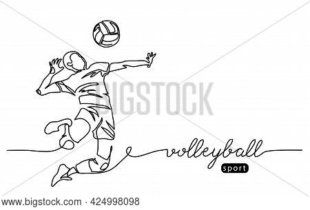 Volleyball Player. Male Jumps In Attack. Playing Volley Simple Vector Background, Banner, Poster. On
