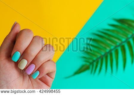 Summer Manicure Idea. Female Hand With Trendy Colorful Manicure. Fashion And Beauty, Minimalism