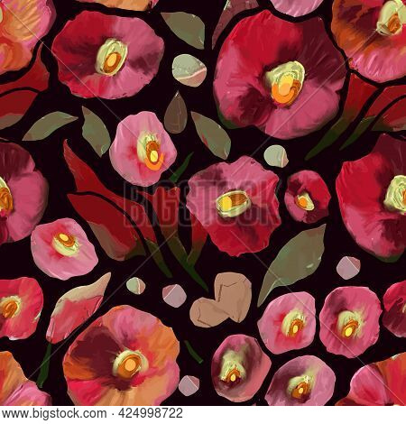 Colorful Seamless Vector Pattern With Abstract Wild Flowers And Plants. Colored Hand Drawn Decorativ