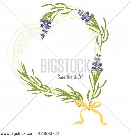 Set Violet Lavender Beautiful Floral Frames Template In Flat Watercolor Style Isolated On White Back
