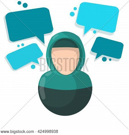 Avatar Of Muslim Girl Covered With Scarf. Flat Cartoon Cloud Text Bubble Dialog. Conversation And Ta