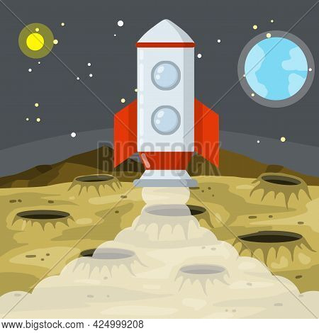 Landing And Launching A Rocket On The Asteroid Landscape. Moon. Space Planet. Lunar Surface With Cra