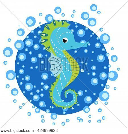 Seahorse, Scandinavian-style Hippocampus, Hand Drawn, In Water Bulbs, Pink And Turquoise