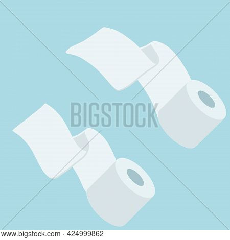 Toilet Paper. Image On Blue Background. Set Of Objects. Flat Cartoon