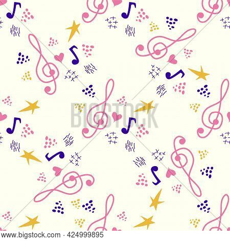 Classic Musical Patterns, With Sheet Music And Treble Clef, Great Designs For Any Purpose. Abstract