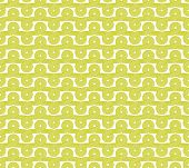 Vector illustration of a beautiful ancient seamless pattern made of curly green ribbons. poster