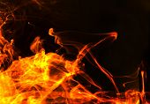 Mountain Of Burning fire abstract wave composition poster