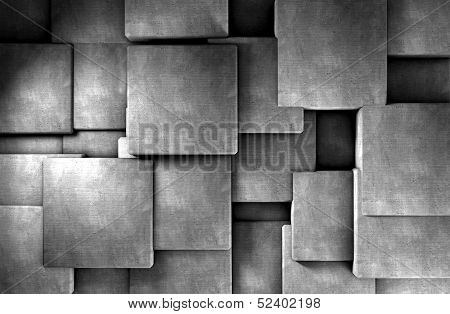 3d abstract architecture background .Cement blocks wall poster