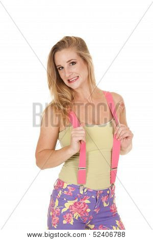 Woman Pink Suspenders Yikes