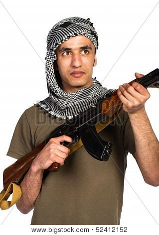 Arab Nationality In Camouflage Suit And Keffiyeh With Automatic Gun On White