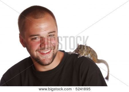 A Young Man And His Squirrel.